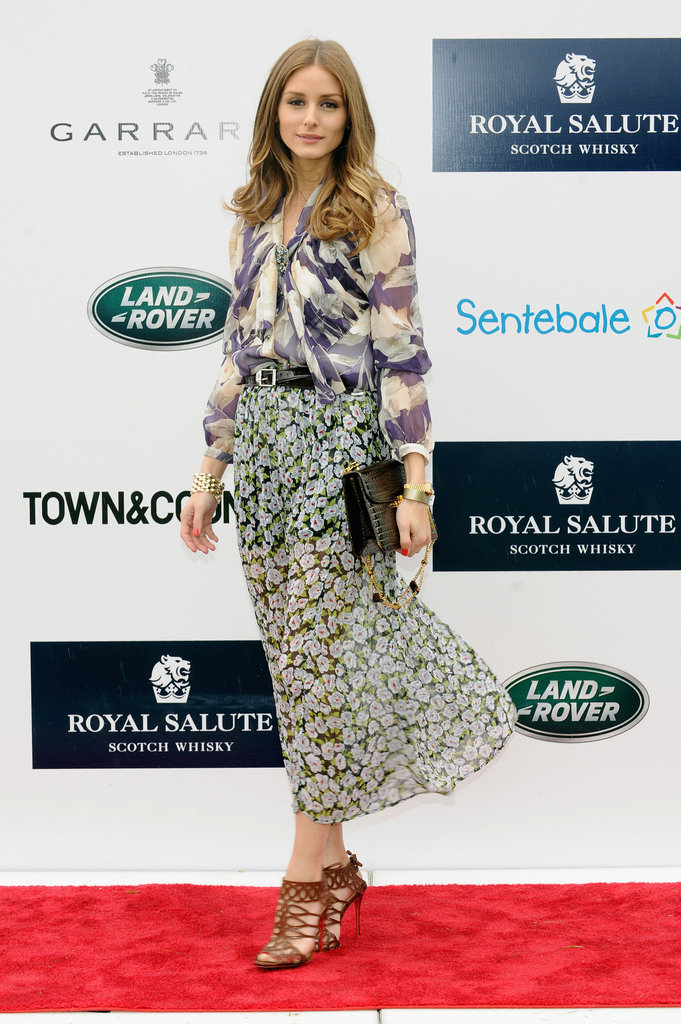 Olivia Palermo took the 2013 Sentebale Royal Salute Polo Cup in Greenwich as an opportunity to fuse two feminine prints that worked beautifully together.