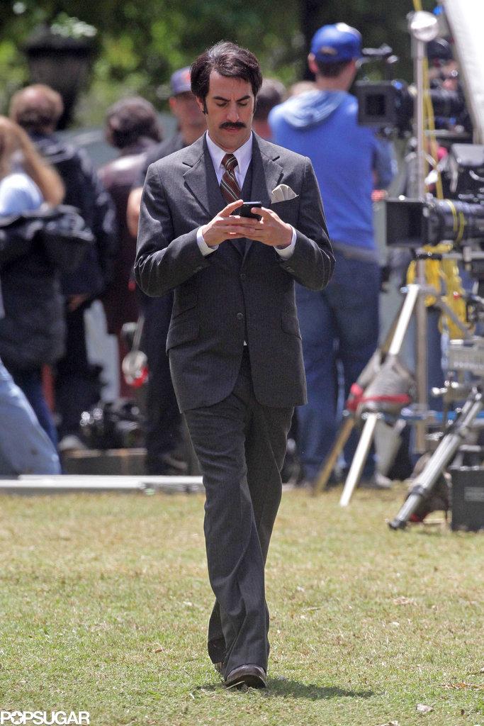 Sacha Baron Cohen strolled around on set.