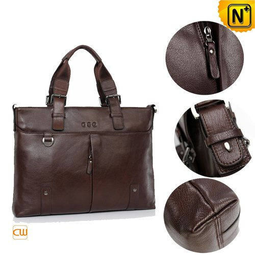 Business Leather Briefcase Bags Brown CW913106 - cwmalls.com