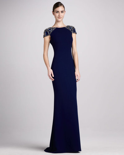 Badgley Mischka Jersey Gown with Beaded Cap Sleeves
