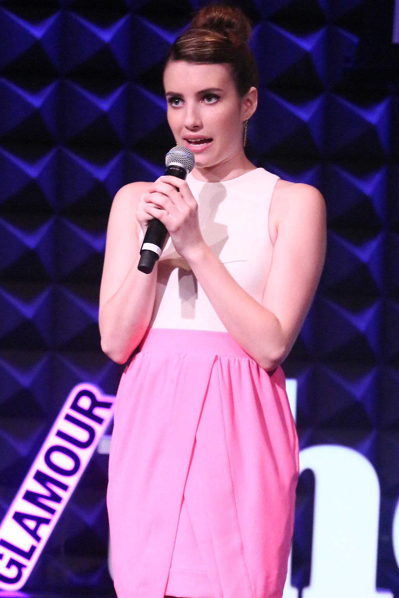 """Emma Roberts hit the stage at Glamour's """"These Girls"""" event in NYC."""