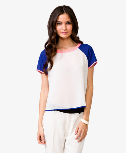 FOREVER 21 Semi-Sheer Colorblocked Top