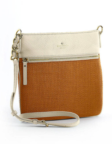 KATE SPADE NEW YORK Ellen Straw And Leather Crossbody Bag