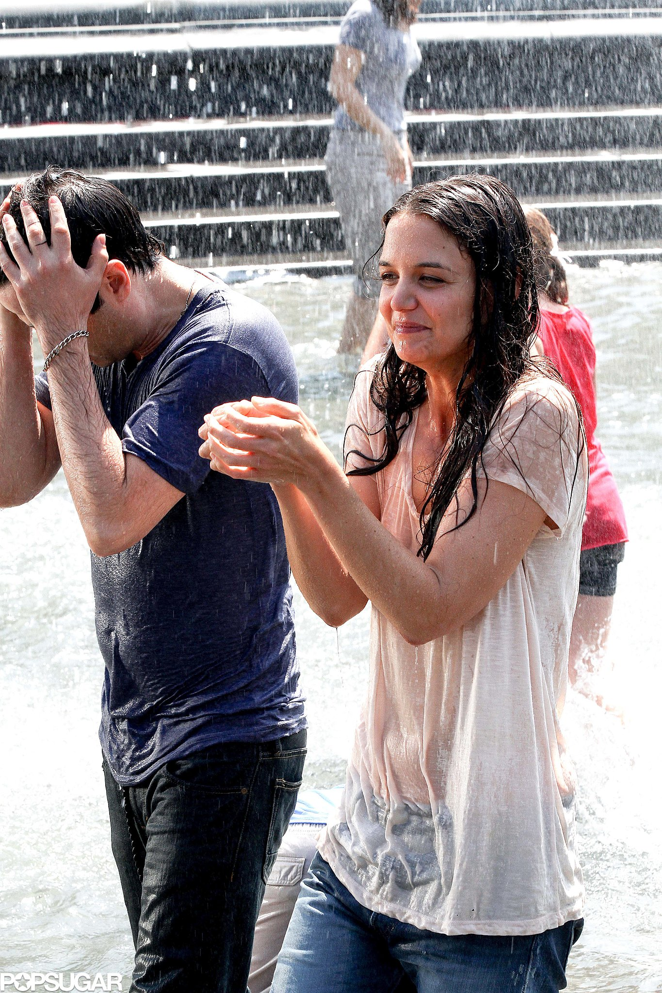 Katie Holmes Wears a Wet T-Shirt in Washington Square Park!
