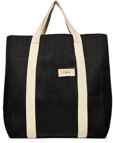 Chloé Mare Black Cotton-Blend Oversized Beach Tote