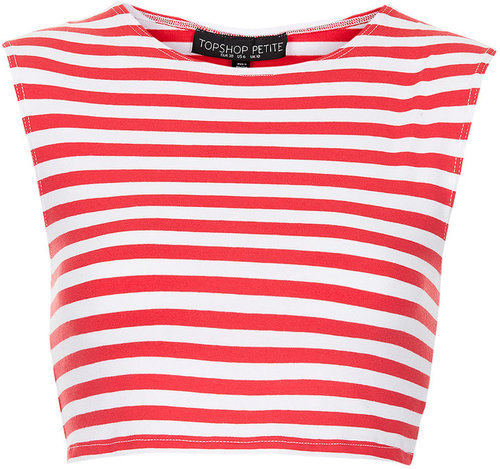 Petite Stripe Stretch Crop Tee