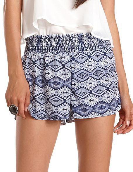 Pack these Charlotte Russe tribal shorts ($20) with you on your next exotic escape. Wear them poolside and for a city stroll
