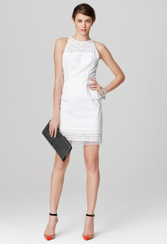 Milly White Dresses - Mia Peplum Dress - Cotton