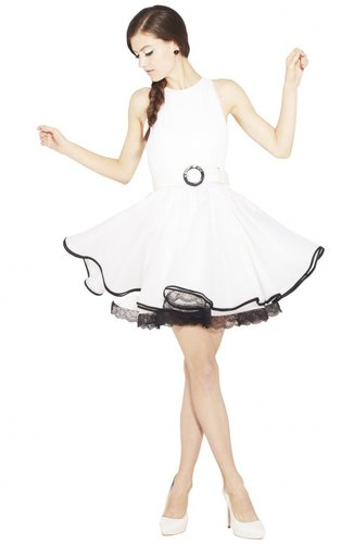 Valli Short Ruffle Dress With Belt