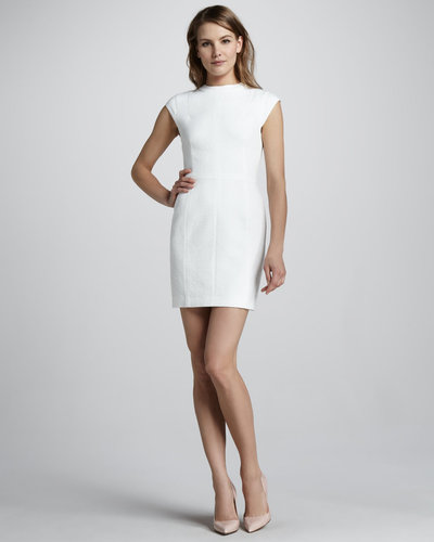 Theory Ancua Cap-Sleeve Jacquard Dress