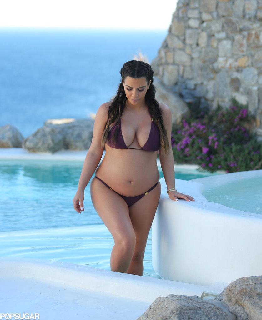 Kim Kardashian went for an afternoon dip in Mykonos, Greece, in April 2013.