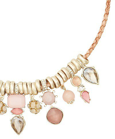 Short Pink Cast Stone Necklace