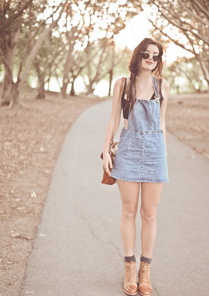 Seasonal denim comes in the form of a little jean dress — style it up with a button-down for a little more sophistication, or just like this for hot days in the park. Source: Lookbook.nu