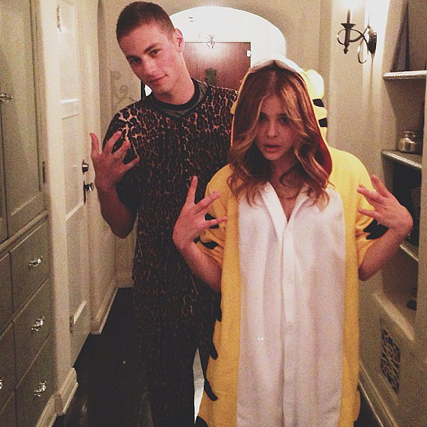 Chloë Moretz had a cute onesie party with a pal. Source: Instagram user cmoretz