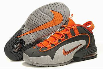 nike penny one basketball shoes grey and orange 26942