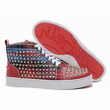 Christian Louboutin Louis Spikes Womens High Top Sneakers Red Canvas 26505