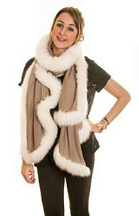Pashmina Shawl with Ivory Fox Fur