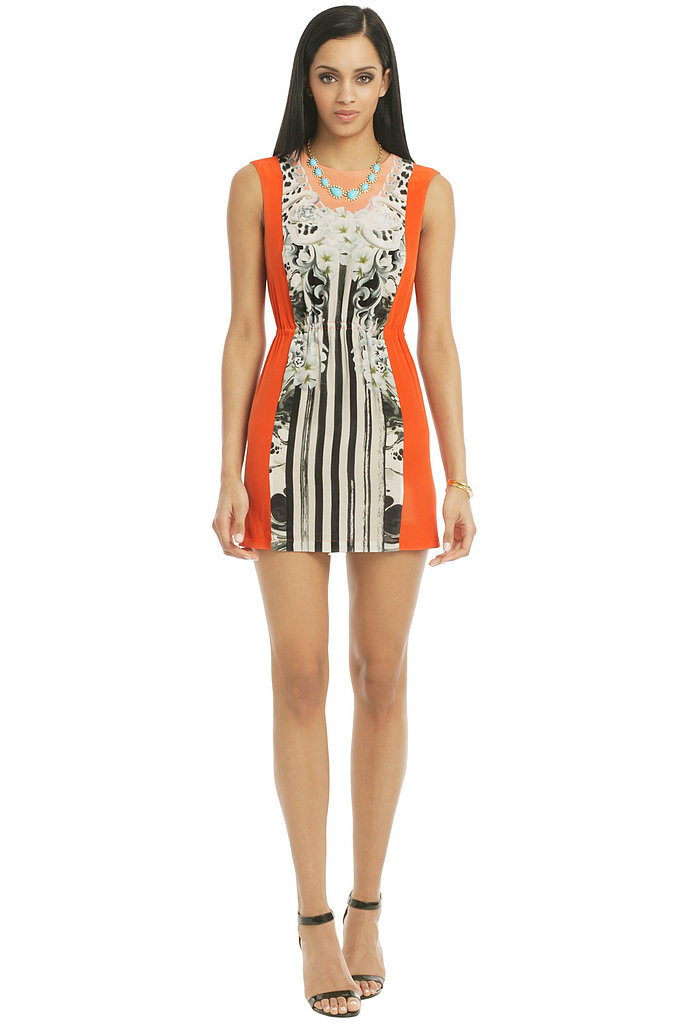 We could totally see Beyoncé going for the vibrant color and graphic print of this Emma Cook dress  ($70 to rent), whose clever colorblocking is sure to flatter any body type.