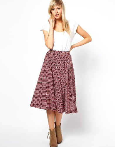 ASOS Midi Skirt in Geo Tile Print