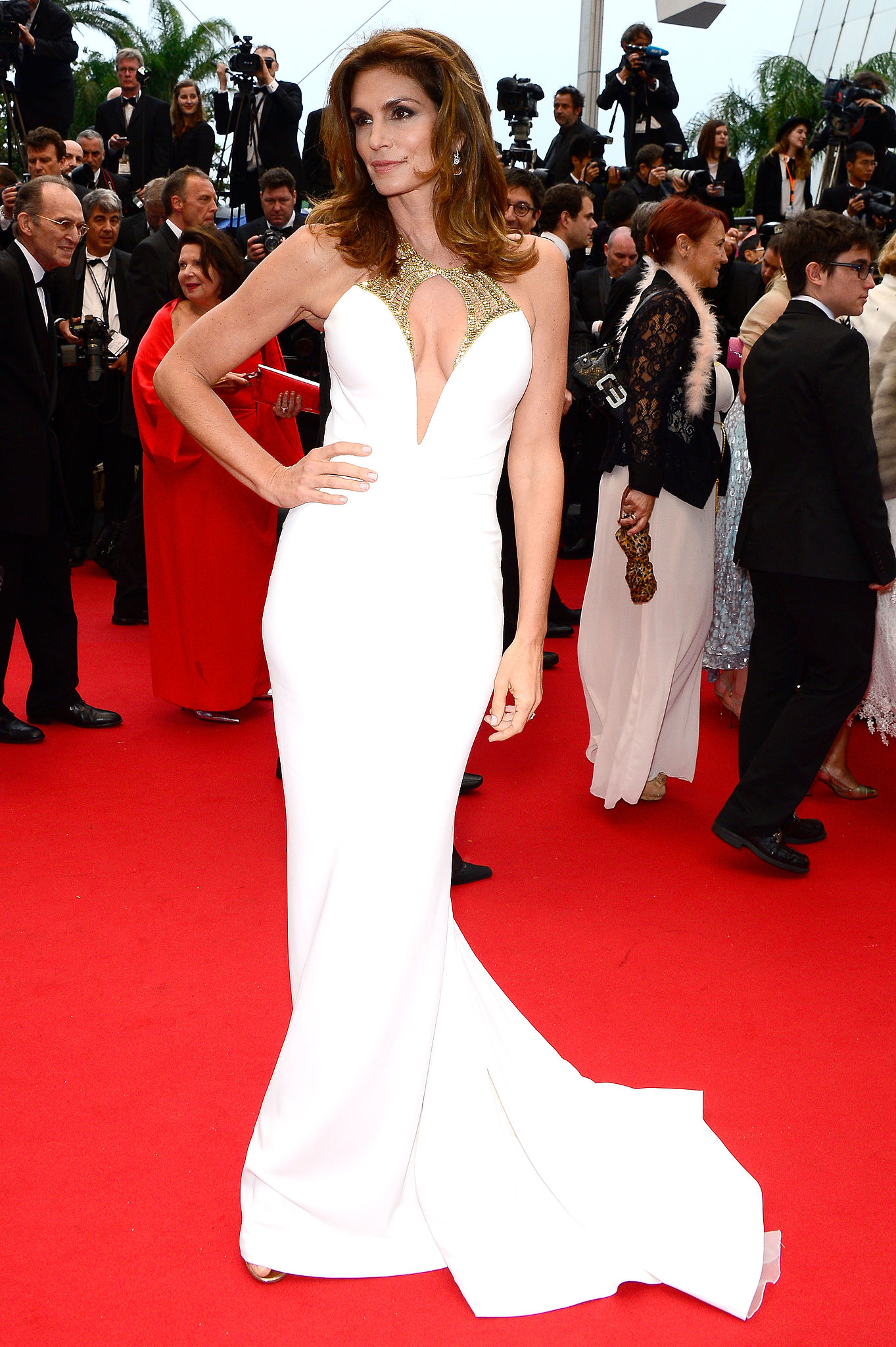 Cindy Crawford in Roberto Cavalli at the Cannes premiere of The Great Gatsby.