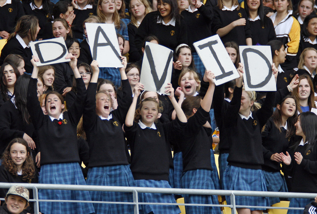 A group of schoolgirls showed their love for David Beckham with signs at a November 2007 game in LA.
