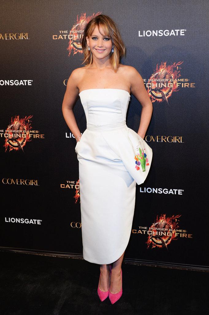 Jennifer Lawrence in Peplum Dior Dress
