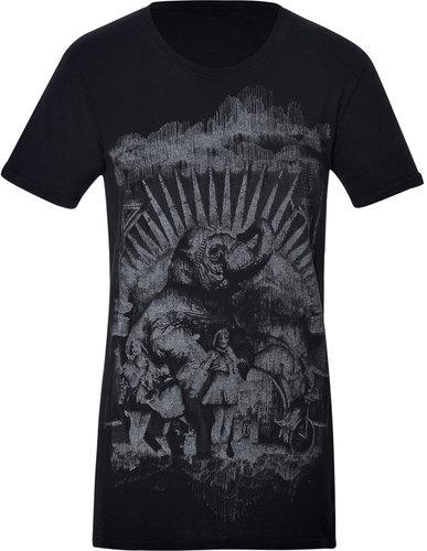 Balmain Anthracite Cotton Printed T-Shirt