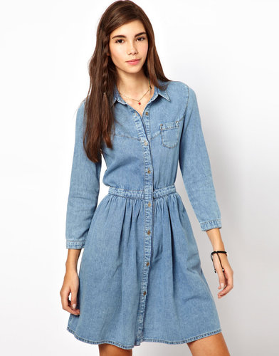 ASOS Denim Shirt Dress in Vintage Wash
