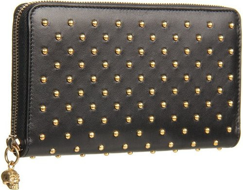 Alexander McQueen - Continental Zip Wallet (Black) - Bags and Luggage