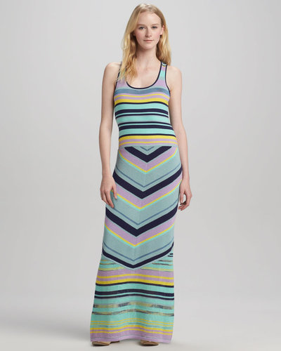 Nanette Lepore Issos Tambourine Mix-Stripe Maxi Dress