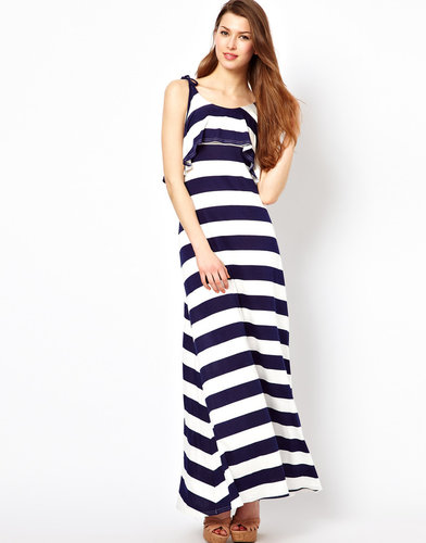 Club L Stripe Maxi Dress With Open Back