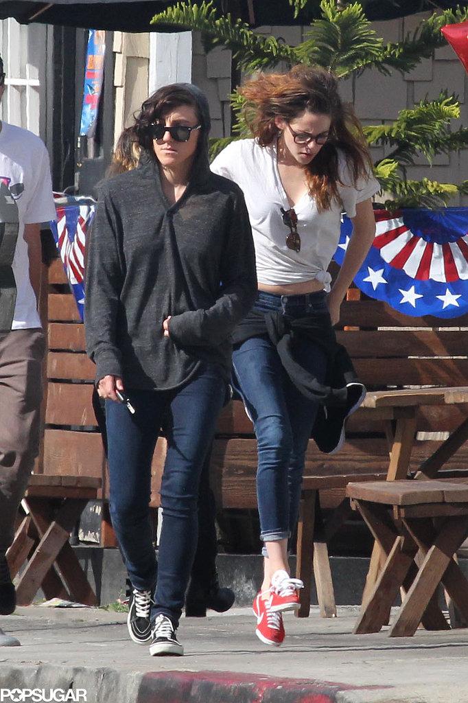 Kristen Stewart skipped around LA with friends on Sunday.