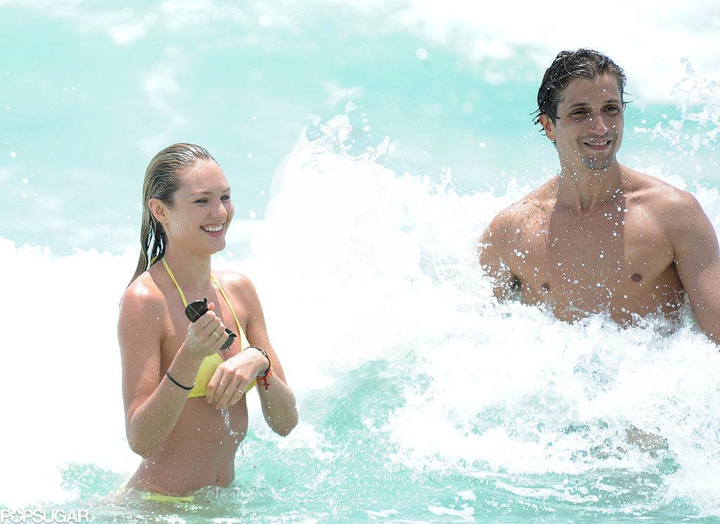 Candice Swanepoel and boyfriend Hermann Nicoli splashed around in Miami on Monday.