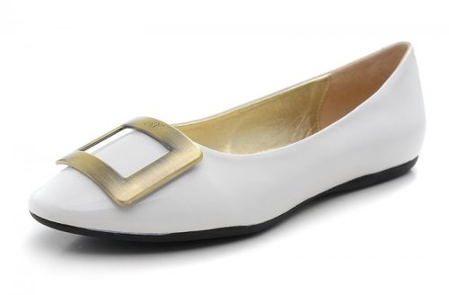 ROGER VIVIER BELLE VIVIER WHITE PATENT LEATHER BALLERINAS