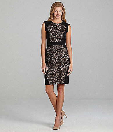 Adrianna Papell Petites Lace Sheath Dress