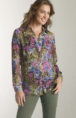 Painterly floral printed blouse