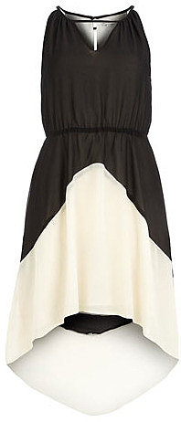Black and cream deco dip dress