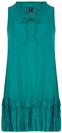 Green layered hem dress
