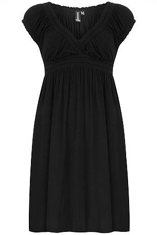 Black crossover midi dress
