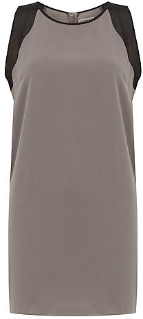 Grey sheer insert shift dress