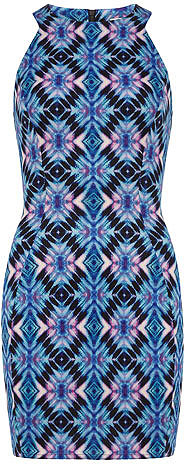 Purple print scuba dress