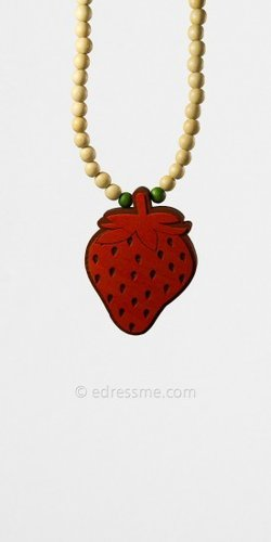 Red Strawberry Pendant by Good Wood