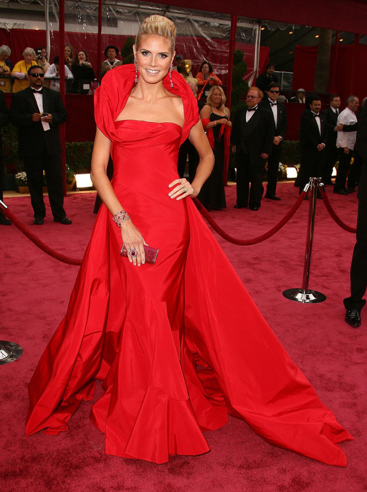 Heidi Klum in a Red Christian Dior at the 2008 Oscars