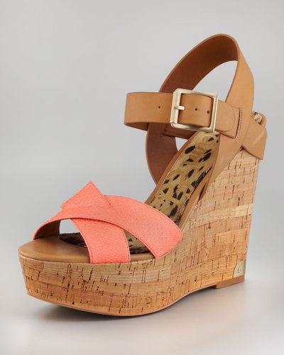 Sam Edelman Sasha Snake Leather Wedge Sandal
