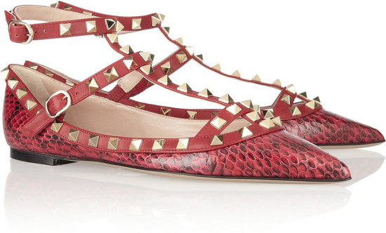 Valentino The Rockstud printed watersnake and leather flats
