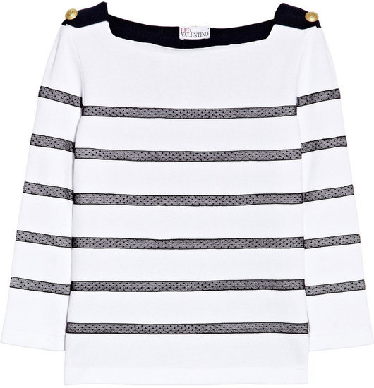 RED Valentino Tulle-striped cotton top