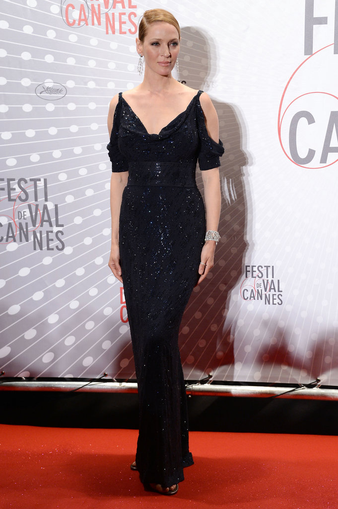 For her custom-made Giorgio Armani dress, Uma Thurman picked navy georgette, not black, and shimmered thanks to embroidered Swarovski crystals.