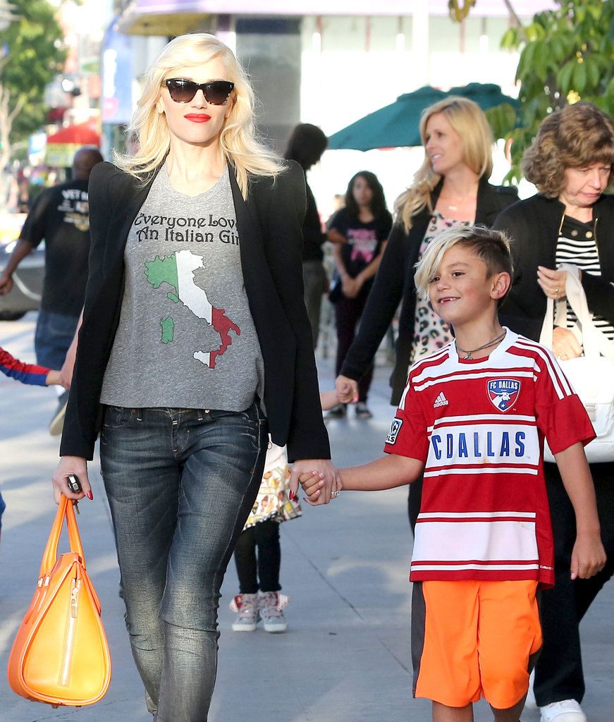 Gwen Stefani took her son Kingston out to dinner in LA on Saturday.