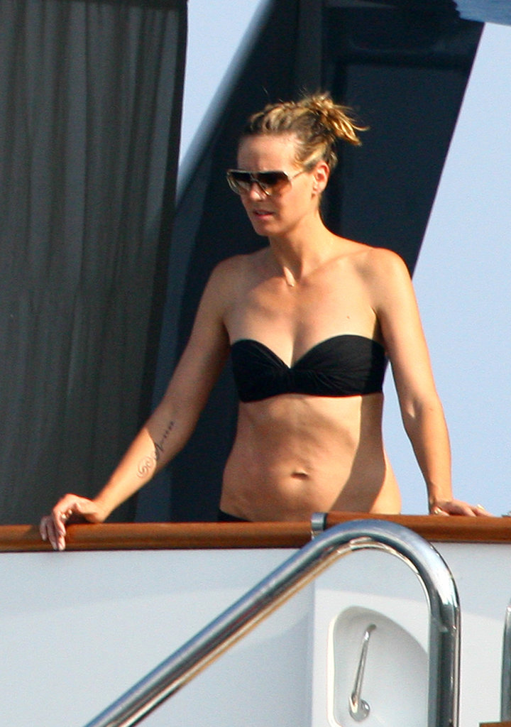 Heidi Klum looked out over a boat in Portofino in August 2010.