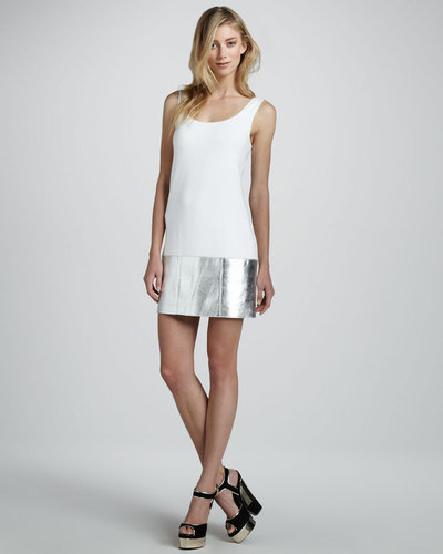 Bailey 44 Horizon Sleeveless Metallic Leather Panel Dress